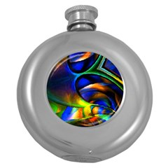 Light Texture Abstract Background Round Hip Flask (5 Oz)
