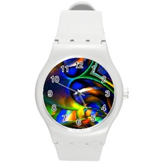 Light Texture Abstract Background Round Plastic Sport Watch (m)