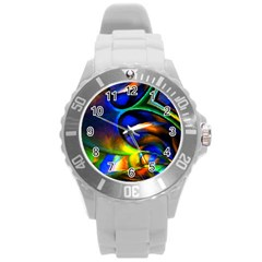 Light Texture Abstract Background Round Plastic Sport Watch (l)