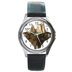 Low Poly Floating Island 3d Render Round Metal Watch
