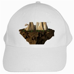 Low Poly Floating Island 3d Render White Cap
