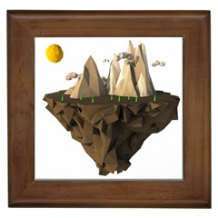 Low Poly Floating Island 3d Render Framed Tiles
