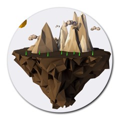 Low Poly Floating Island 3d Render Round Mousepads