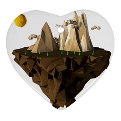 Low Poly Floating Island 3d Render Ornament (heart)