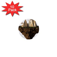 Low Poly Floating Island 3d Render 1  Mini Buttons (10 Pack)