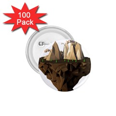 Low Poly Floating Island 3d Render 1 75  Buttons (100 Pack)