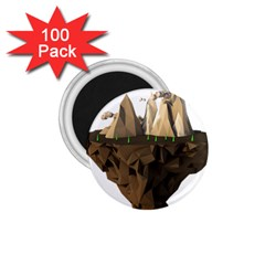 Low Poly Floating Island 3d Render 1 75  Magnets (100 Pack)