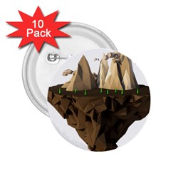 Low Poly Floating Island 3d Render 2 25  Buttons (10 Pack)