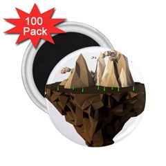 Low Poly Floating Island 3d Render 2 25  Magnets (100 Pack)