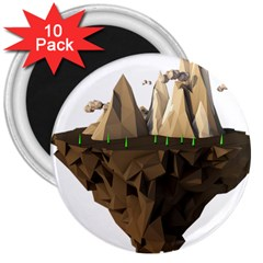 Low Poly Floating Island 3d Render 3  Magnets (10 pack)