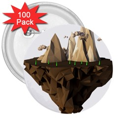 Low Poly Floating Island 3d Render 3  Buttons (100 Pack)