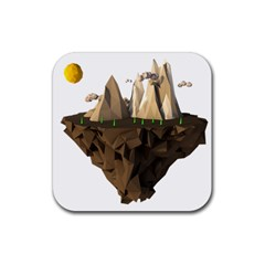 Low Poly Floating Island 3d Render Rubber Coaster (Square)