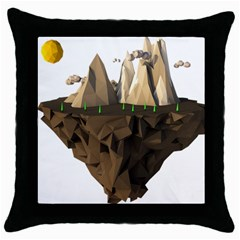 Low Poly Floating Island 3d Render Throw Pillow Case (black)