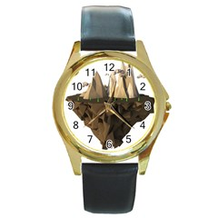 Low Poly Floating Island 3d Render Round Gold Metal Watch