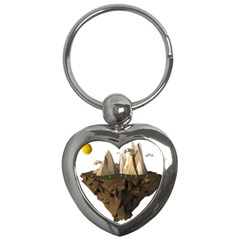 Low Poly Floating Island 3d Render Key Chains (heart)