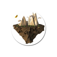 Low Poly Floating Island 3d Render Magnet 3  (round)