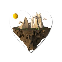 Low Poly Floating Island 3d Render Heart Magnet