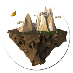 Low Poly Floating Island 3d Render Magnet 5  (round)