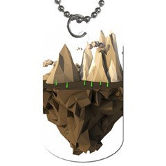 Low Poly Floating Island 3d Render Dog Tag (two Sides)