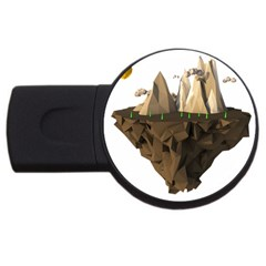 Low Poly Floating Island 3d Render Usb Flash Drive Round (2 Gb)
