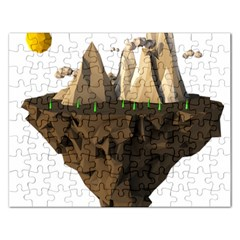 Low Poly Floating Island 3d Render Rectangular Jigsaw Puzzl