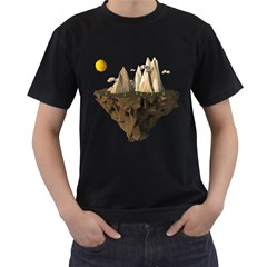 Low Poly Floating Island 3d Render Men s T Shirt (black) (two Sided)