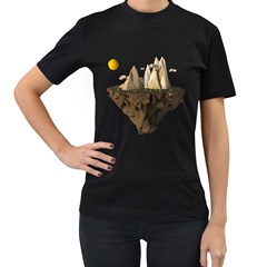 Low Poly Floating Island 3d Render Women s T Shirt (black) (two Sided)