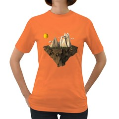 Low Poly Floating Island 3d Render Women s Dark T Shirt