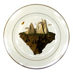 Low Poly Floating Island 3d Render Porcelain Plates