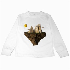 Low Poly Floating Island 3d Render Kids Long Sleeve T Shirts