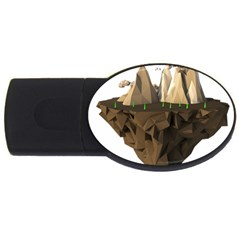 Low Poly Floating Island 3d Render Usb Flash Drive Oval (4 Gb)