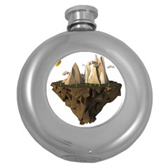 Low Poly Floating Island 3d Render Round Hip Flask (5 Oz)