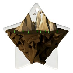 Low Poly Floating Island 3d Render Star Ornament (two Sides)