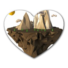 Low Poly Floating Island 3d Render Heart Mousepads
