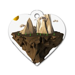 Low Poly Floating Island 3d Render Dog Tag Heart (two Sides)