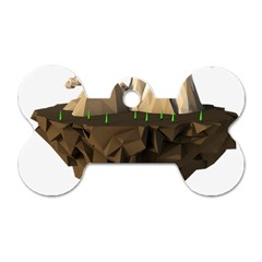 Low Poly Floating Island 3d Render Dog Tag Bone (two Sides)