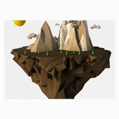Low Poly Floating Island 3d Render Large Glasses Cloth