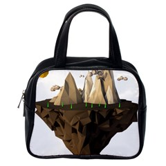 Low Poly Floating Island 3d Render Classic Handbags (one Side)