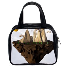 Low Poly Floating Island 3d Render Classic Handbags (2 Sides)