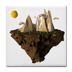 Low Poly Floating Island 3d Render Face Towel