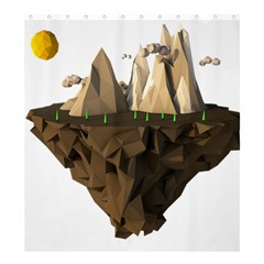 Low Poly Floating Island 3d Render Shower Curtain 66  X 72  (large)