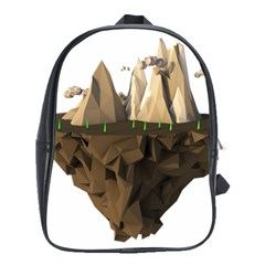 Low Poly Floating Island 3d Render School Bags(large)