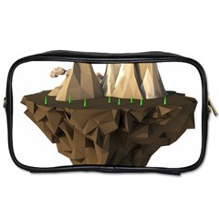 Low Poly Floating Island 3d Render Toiletries Bags 2 Side