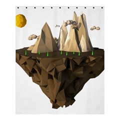 Low Poly Floating Island 3d Render Shower Curtain 60  X 72  (medium)