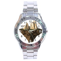 Low Poly Floating Island 3d Render Stainless Steel Analogue Watch
