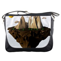 Low Poly Floating Island 3d Render Messenger Bags