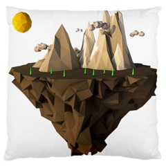 Low Poly Floating Island 3d Render Large Cushion Case (one Side)