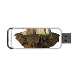 Low Poly Floating Island 3d Render Portable Usb Flash (one Side)