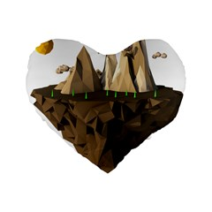 Low Poly Floating Island 3d Render Standard 16  Premium Heart Shape Cushions