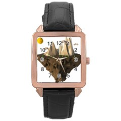 Low Poly Floating Island 3d Render Rose Gold Leather Watch
